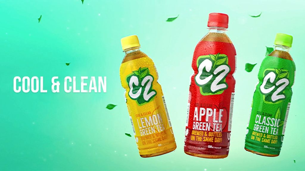 c2 green tea Everyone can also take their refreshing c2 experience further with varying flavor offers such as classic green tea, green tea apple, green tea lemon, green tea dalandan, green tea melon and red tea raspberry.