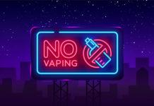 No Vaping Neon Sign Vector Template, Light Banner, Bright Night Illustration, Symbol Vaping Ban, No Vaping, Electronic Cigarette Neon. Vector Illustration. Billboard